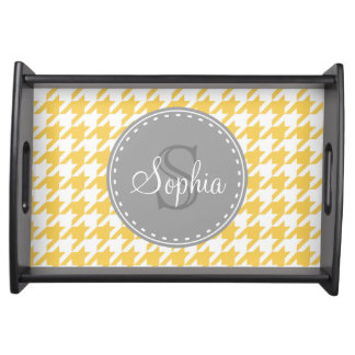 Monogrammed Yellow White Houndstooth Pattern Serving Tray