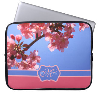 Monogrammed Yokohama Sakura Pink Cherry Blossoms Laptop Sleeve