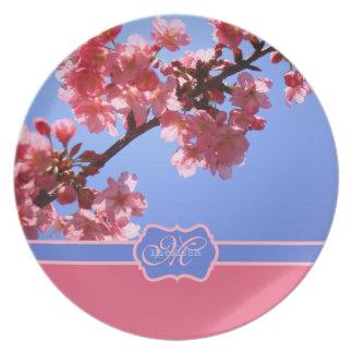 Monogrammed Yokohama Sakura Pink Cherry Blossoms Plate
