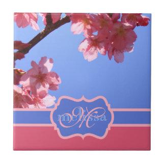 Monogrammed Yokohama Sakura Pink Cherry Blossoms Ceramic Tile