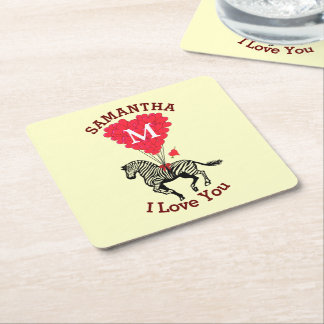 Monogrammed zebra and red heart personalized square paper coaster