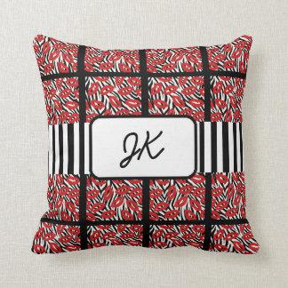 Monogrammed Zebra Red Lips Kisses Throw Pillow
