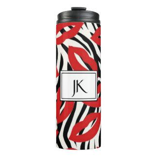 Monogrammed Zebra Stripes & Red Lips Thermal Mug