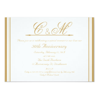 Monograms 50th Wedding Anniversary Invitation