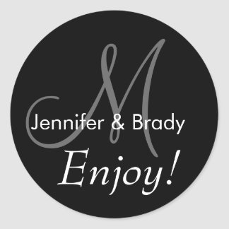 Monograms for Wedding Favours Labels Round Sticker