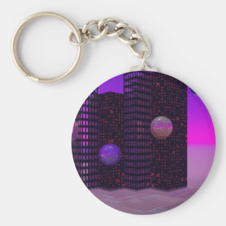 Monolith Quest, Abstract City Violet Key Chains