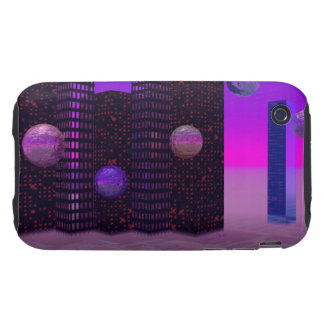 Monolith Quest, Abstract City Violet Tough iPhone 3 Covers