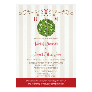Monomgrammed Mistletoe Wedding Invitations