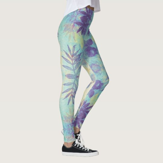Monoprint floral turquoise and purple leggings