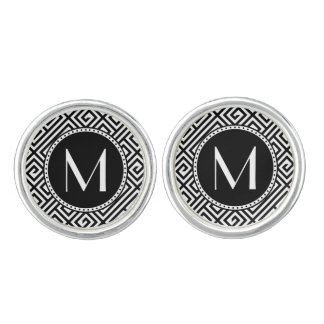 Monorgammed Greek Key Silver Plated Cuff Links