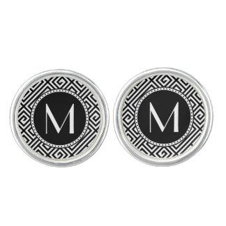 Monorgammed Greek Key Silver Plated Cuff Links