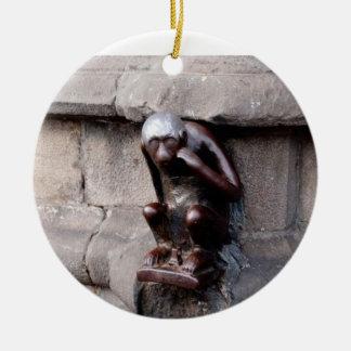 Mons Monkey Round Ceramic Decoration