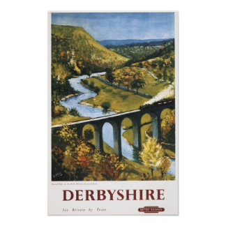 Monsal Dale, Train and Viaduct British Rail Poster