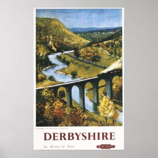 Monsal Dale Train and Viaduct British Rail Print