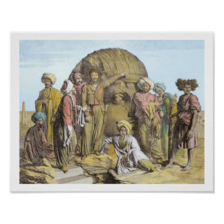 Monsieur Drovetti and his followers using a plumb Print