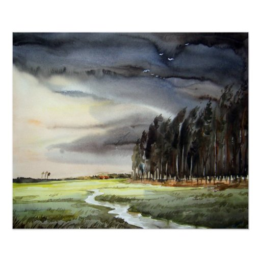 MONSOON LANDSCAPE & FOREST-WATERCOLOR PAINTING POSTER