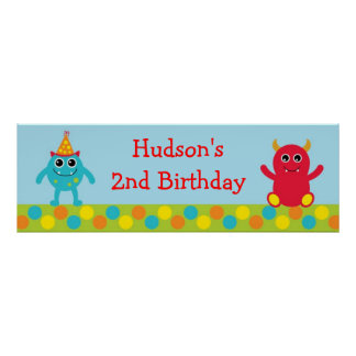 Monster 1st Birthday Welcome Poster