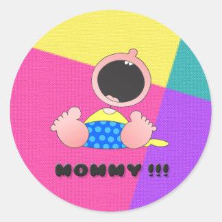 Monster Baby Boy Round Sticker