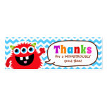 Monster Bash Favour Tag Birthday Party Pack Of Skinny Business Cards