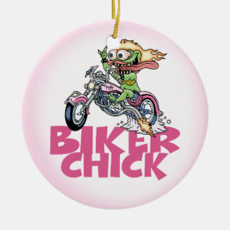 Monster Biker Chick Christmas Ornament