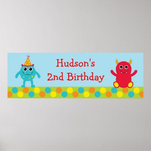 Monster Birthday Banner Posters