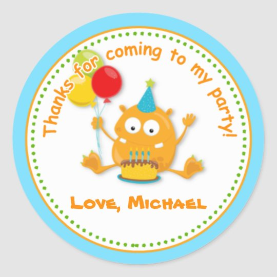 Monster Birthday Party Favour Tag Sticker
