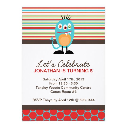 Monster Birthday Party Invite