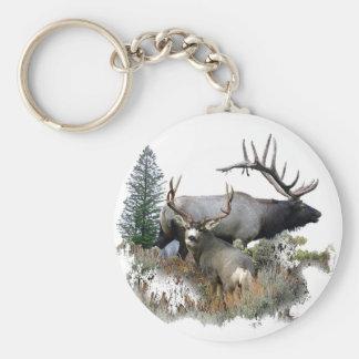 Monster bull trophy buck basic round button key ring