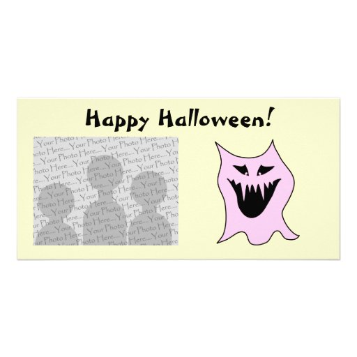 Monster Cartoon, Black and Pink. Photo Card Template