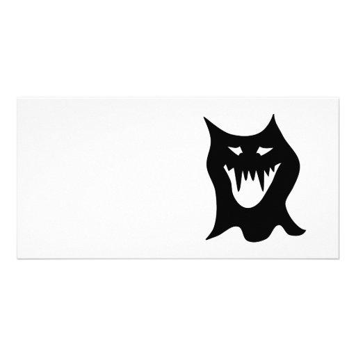 Monster Cartoon, Black. Photo Card Template