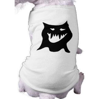 Monster Cartoon, Black. Sleeveless Dog Shirt