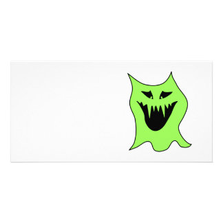 Monster Cartoon. Green and Black. Customized Photo Card