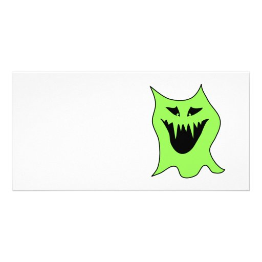 Monster Cartoon. Green and Black. Personalized Photo Card