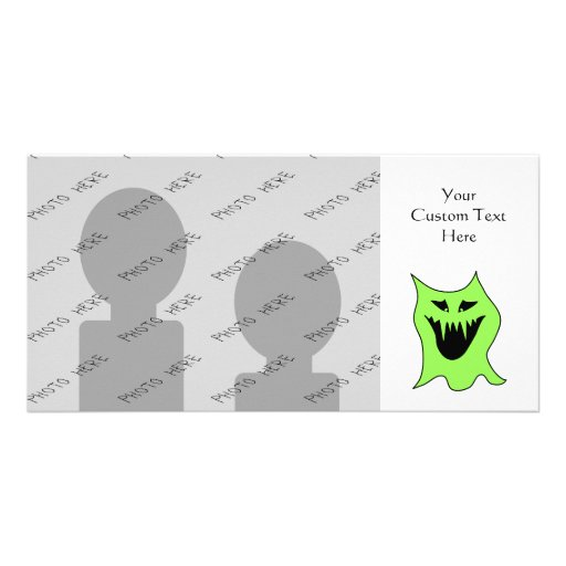 Monster Cartoon. Green and Black. Photo Card Template