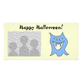 Monster Cartoon in Blue. Customized Photo Card