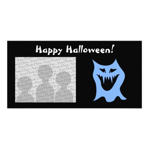 Monster Cartoon in Blue. Photo Card Template