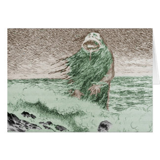 Monster Coming Out of the Water Card