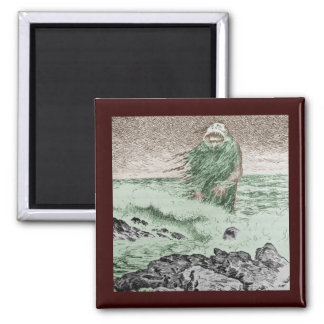 Monster Coming Out of the Water Square Magnet