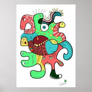 Monster doodle poster