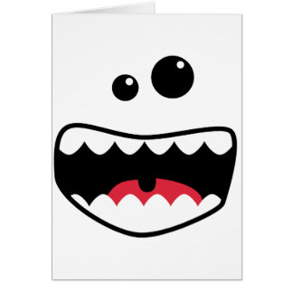 Monster face greeting card