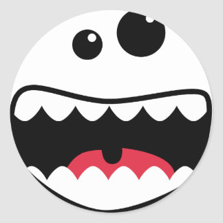 Monster face classic round sticker