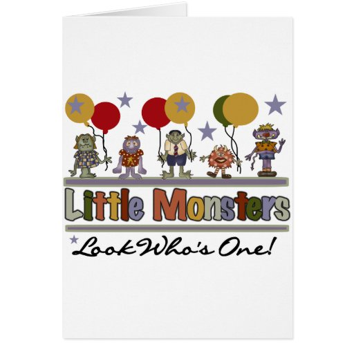 Monster First Birthday T shirts and Gifts Greeting Cards