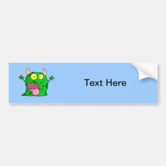Monster Funny Comic Drawing Cartoon Cute Happy Bumper Sticker
