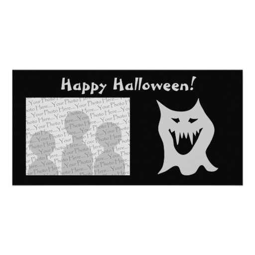 Monster Ghost Cartoon in Gray. Photo Card Template
