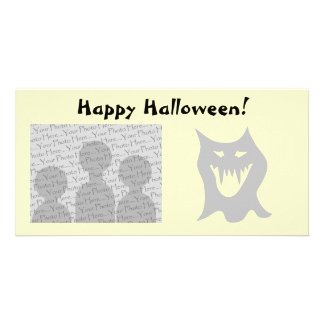 Monster Ghost Cartoon in Gray. Photo Cards