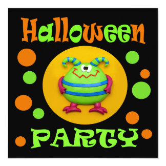 Monster Halloween Party Card