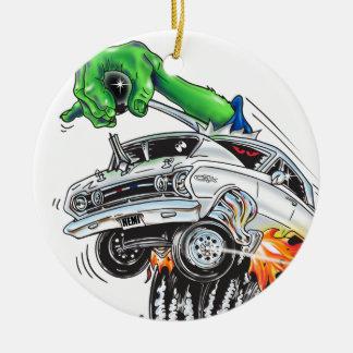Monster Hot Rod Racer (white) Christmas Ornament