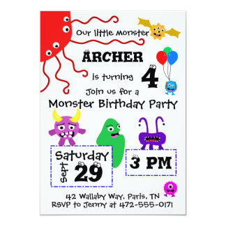 Monster Kid's Birthday Invitation - Light