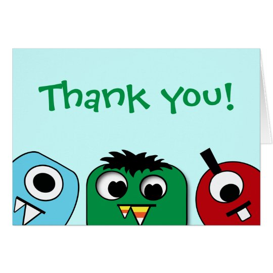 Monster Kids Thank You Card