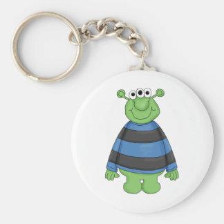 Monster Mash · Green Three-Eyed Monster Basic Round Button Key Ring